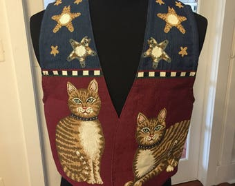 Vintage Handmade One of a kind Cat Vest