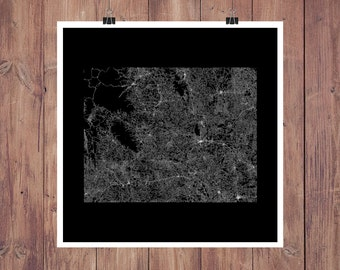 Wyoming Roads High Resolution Digital Print / Map of Wyoming / Wyoming Print / Wyoming Wall Art / Wyoming Poster / Wyoming Map Art