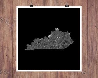 Kentucky Roads High Resolution Digital Print / Map of Kentucky / Kentucky Print / Kentucky Wall Art / Kentucky Poster / Kentucky Map Art