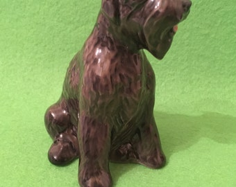 Black terrier Porcelain Dog figurine Hand painted Souvenir from Russia