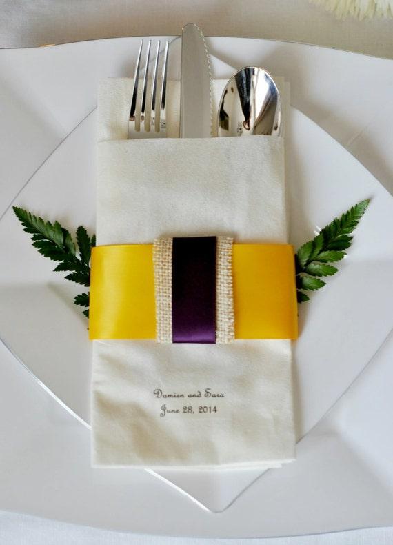 Burlap Accented Satin Ribbon Linen-Like Wedding Napkin