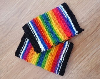 OOAK Rainbow Stripy Fingerless Gloves Handwarmers
