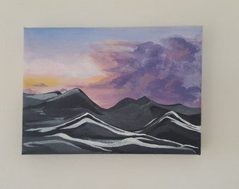 "5x7"" Dark Mountains Small Acrylic Painting"