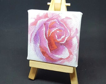 "2.75x2.75"" Pink Rose Miniature Printed Canvas and Easel"