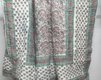 Indian hand block printed cotton filling vintage kantha quilt, cotton 2 layer bed cover throw kantha gudri