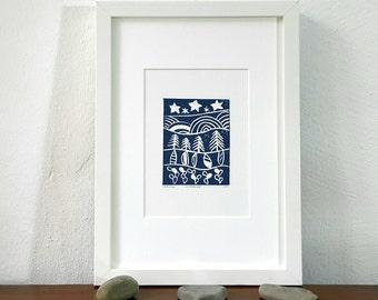 Linocut, linoprint, night landscape, original artwork, modern abstract art, print art, abstract landscape, cactus forest, cloudy star sky