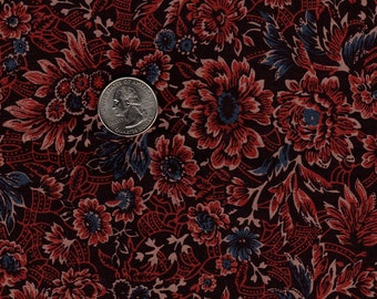 Fat Quarter Red Flora lOut of Print Smithsonian Copp Quilt Fabric RJR