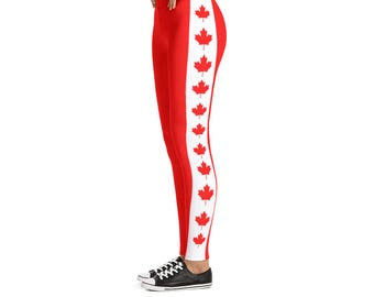 Canada Flag Leggings - Perfect for Canada Day