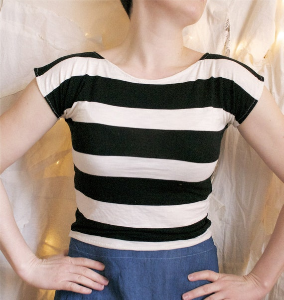 Spring in Paris - Super Soft Crop Top - Black and White Striped Shirt - Handmade in Kansas, USA Ready to Ship