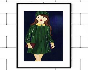 Paris Girl Art, Paris Girl Decor, Paris Girl Print, Parisian Girl, Girl, Art, French, French Print, French Girl Wall Art, French Girl Decor