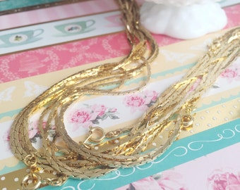 Gold Chain | Bright Gold Chain | Cable Link Chain | Gold Tone Chain | Thin Gold Chain | Finished Gold Chain | 2 Pieces