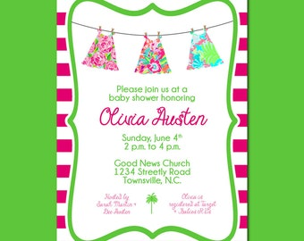 Lilly Inspired Clothesline Baby Shower Invitation