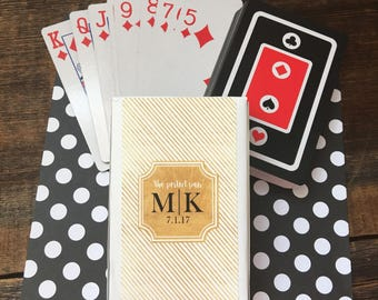 Set Of 10 Personalized Perfect Pair Gold Wedding Favor Playing Card Stickers With Black And Red