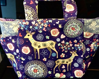 Little Deer Double Side Pocket Tote Bag