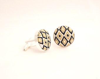 Diamond Pattern Fabric Cufflinks