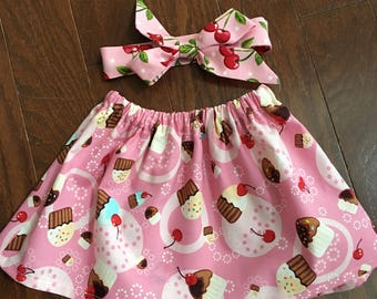 Cupcakes and Cherries ~ Toddler Skirt and Headbow ~ Matching Headband ~ Cupcake skirt ~ Toddler Set