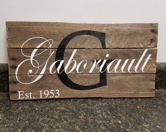 Custom Name Wood Sign, Wedding Gift Sign, Pallet Last Name Sign, Established Date Family Sign, Anniversary Gift