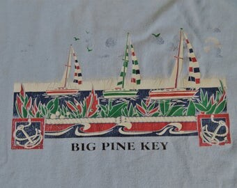 Vintage Souvenir T-shirt Big Pine Key Florida Large Light Blue with Graphic of Sail boats on the Sea
