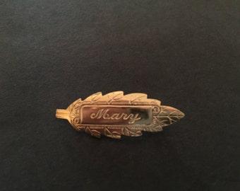 Vintage leaf name pins- Mary