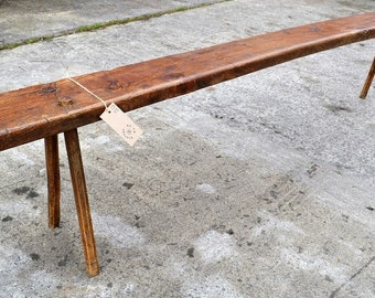 Antique Rustic French Oak Country Bench