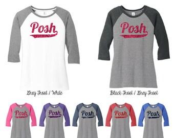 Glitter Posh 3\4 Raglan Sleeve Shirt, Posh Shirt, Posh