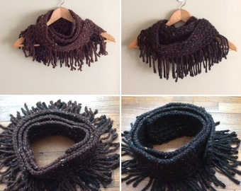 Crocheted Cowl Neck Scarf With Fringe