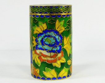 Green Cloisonne Copper Brass Enamel Toothpick Holder Case Box,Colorful Floral Pattern,Collection Decoration Actural Use,Chinese Handicraft
