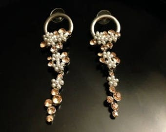Darling Silver Tone Earrings With Faux Pearls And Peach Colored Rhinestones