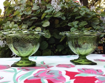 Vintage Green Lace-Edged Bowls (Set of 2), Green Glass Bowls