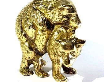Bears in love - 1960's Brass Figurine Of Humping Bears
