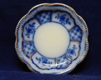 1890's Butter Pat Flow Blue Melbourne Pattern by Grindley and Co. with Gold Rim