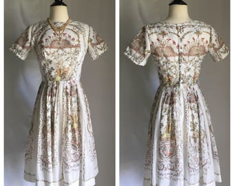 50's Rare Scenic Novelty Print Old World Hunting Party White Polished Cotton Sheer Cotton Dress