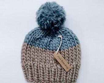 Slouchy knit toque colour block - Adult