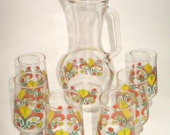 Vintage 70s glasses set with juice jug