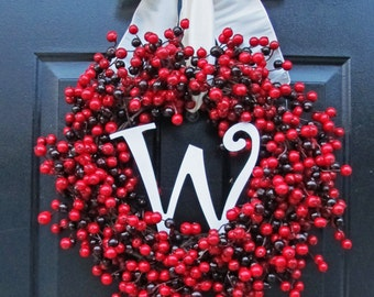 Holiday Wreath, Holiday Berry Wreath For Christmas And Thanksgiving Front Door Decor, Red Christmas