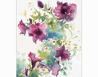 Soft Summer Bouquet Original Watercolor Painting