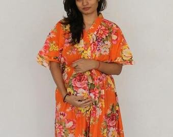 Orange Maternity dress, Delivery Gown, Hospital Kaftan, Nursing Gown, Hospital Gown, Pregnancy Kaftan, Maternity Gown, Feeding dress