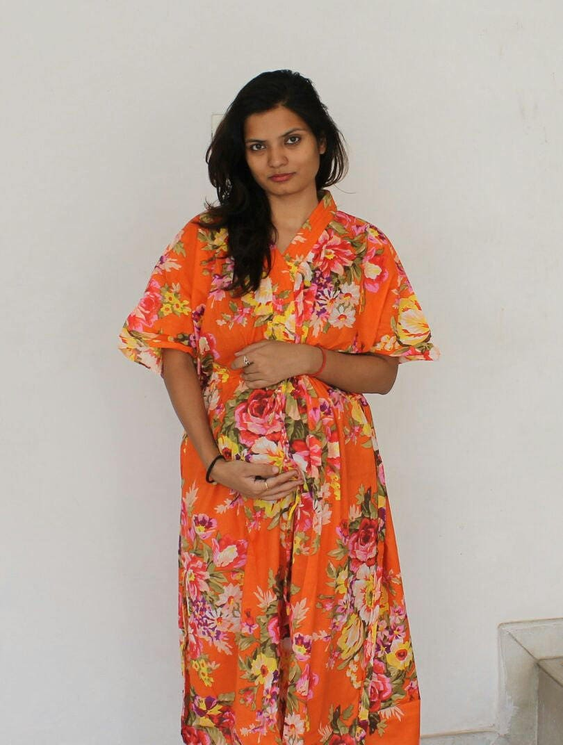 Orange maternity dress delivery gown hospital kaftan zoom ombrellifo Images