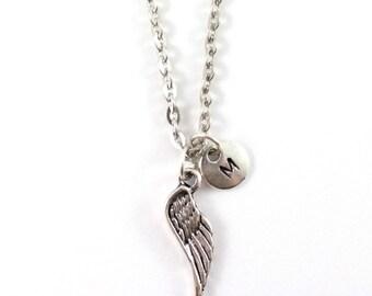 ANGEL WING necklace, angel wing jewelry, personalized charm necklace, initial necklace, personalized jewel, charm neckalce, monogram