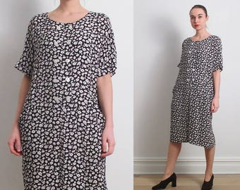 80s Black White Floral Wedge Dress / S-M