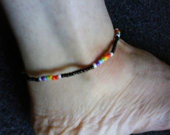 LoliRosa Rainbow Glass Seed Bead Stretch Anklet Ibiza Summer Festivals