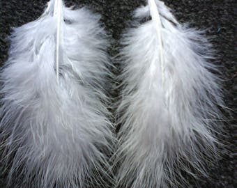 """LoliRosa Huge Fluffy White Feather & Silver Plated Chain """"Angel Wings"""" Earrings"""