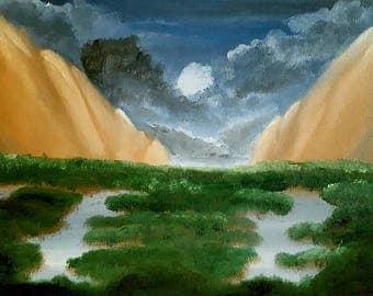 "Night oil painting landscape print 8.5""x11"" -Moonlit Jungle-"