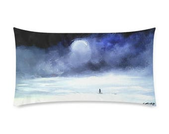"Rectangle Pillow Case 20""x36"" +3 other sizes -Meeting a Friend- FREE Shipping"