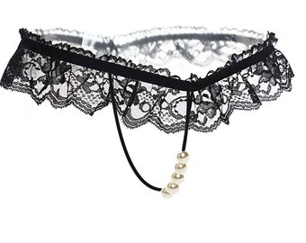 Pearl Thong lingerie Beaded Plus + Size crotchless Lace Red Black UK 12-26