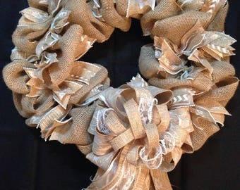 Wedding Burlap Wreath, Shabby Chic wreath, Burlap wreath, Rustic wedding wreath