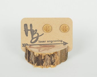 Wood Monogram Stud Earrings, Laser Cut Earrings, Custom Earrings, Gold Monogram Earrings, Monogram Earrings, Personalized Earrings