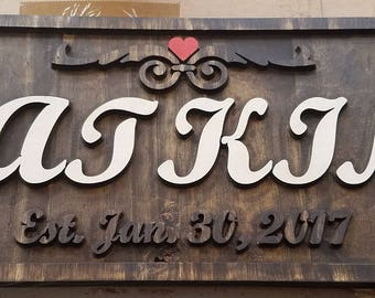 Custom Established Wedding Last Name Signs Wooden Stained