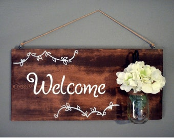 Personalized Welcome Sign with Mason Jar l Entry Sign l Welcome Sign