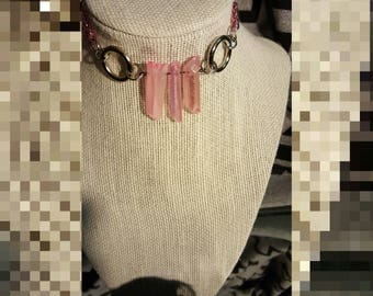 Pink Crystal and Chain Choker *SALE*